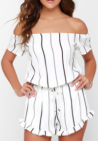 Stylish Strapless Lace Trim Striped White Polyester One-piece Jumpsuits