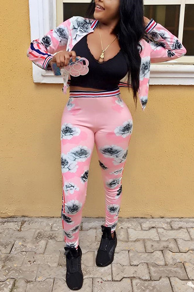 BrytCouture Long Sleeves Printed Pink Polyester Two-piece Set - Pink