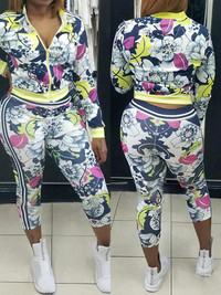 BrytCouture Leisure Floral Print Polyester Two-piece Set