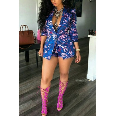 Floral Print Turndown Collar Blue Polyester Two-piece Shorts Set