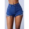 BrytCouture Mid Waist Shorts Battered Blue Denim Shorts