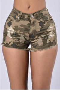 BrytCouture Stylish Mid Waist Printed Camouflage Color Denim Skinny Shorts