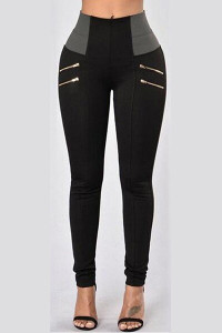 BrytCouture Casual High Waist Patchwork Black Cotton Skinny Pants
