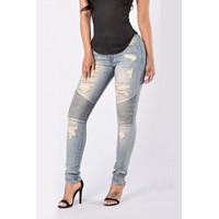BrytCouture High Waist Ripped Patchwork Dark Blue Denim Jeans