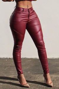 BrytCouture Mid Waist Button Fly Ruffles Design Red PU Skinny Pants
