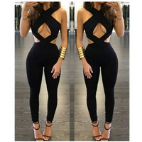 BrytCouture Cross Strap Hollow-out Black Qmilch One-piece Skinny Jumpsuits