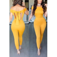 Halter V Neck  Backless Yellow Twilled One-piece Jumpsuits