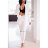 BrytCouture Turndown Collar Long Sleeves White Twilled Satin Two-piece Pants Set