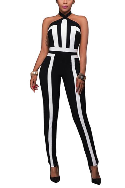 BrytCouture Sleeveless Black Patchwork One-piece Skinny Jumpsuit