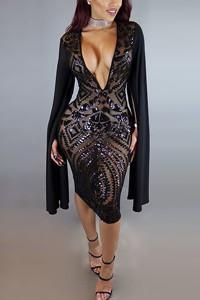 Sexy Deep V Neck Long Sleeves Black Polyester Sheath Knee Length Dress
