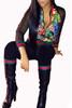 BrytCouture Trendy Mandarin Collar Gauze Patchwork Black Qmilch Two-piece Set