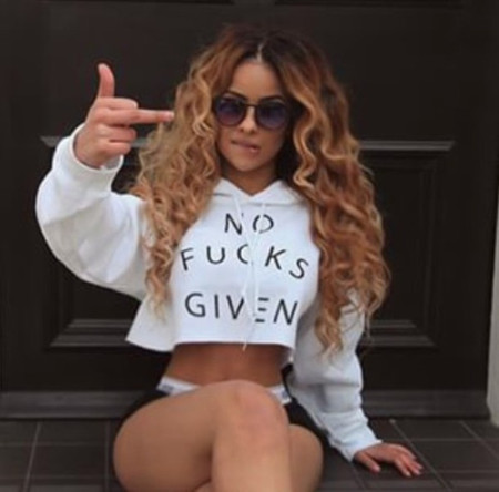 BrytCouture No Fucks Given Long Sleeves Hooded Crop Top Sweats