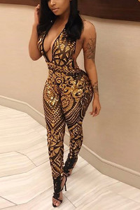 BrytCouture Sleeveless Backless Gold Sequined One-piece Jumpsuit