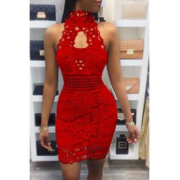 BrytCouture Sexy Backless Red Lace Sheath Mini Dress