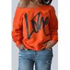 Round Neck Long Sleeves Orange Pullover