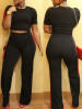 BrytCouture Stylish Two-piece Polyester Patchwork Pants Set - Black