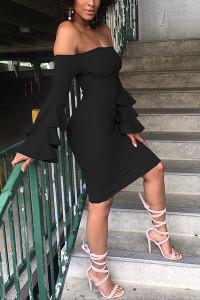 BrytCouture Dew Shoulder Falbala Design Polyester Dress - Black