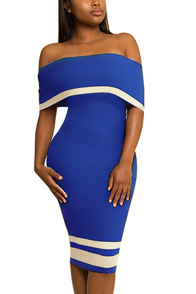 Euramerican Dew Shoulder Patchwork Blue Polyester Knee Length Dress