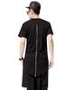 Men Hip Hop Extended Tee Shirt With Zipper black