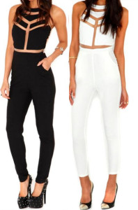 Bodycon Buisness PlaySuit Black and White