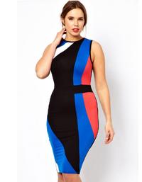 Color Block Midi Bodycon Plus Size Dress