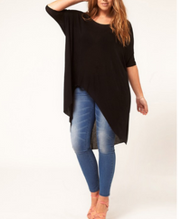 Asymmetrical Design long Hallow Out Plus Size T-shirt