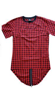 Men Hip Hop Extended Plaid Tee Shirt With Zipper
