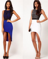 Chic Asymmetrical Skirt Blue and White