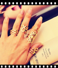 Hollow Finger Flower Rings 5Pcs Gift Set