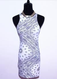 Limited Edition Monochrome Paisley Bandana Tank Dress - White