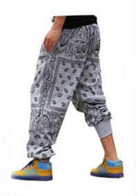 Unisex Paisley Bandanna Harem Hip Hop Jogging Sweatpants - Gray