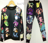 Unisex Cartoon Joggers and Pullover Sweater - Black Set