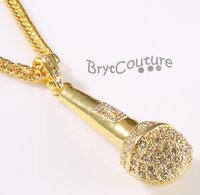 Hip Hop Microphone Necklace With Cuban Chain