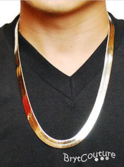 Hip Hop Hippie Fishbone 18K Gold Silver Plated Chain