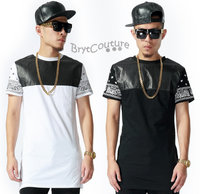 Bandana Leather Patchwork Men T-shirt