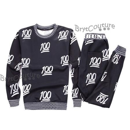 BrytCouture Limited Edition 100 Emoji Joggers and Sweatshirt - Set.