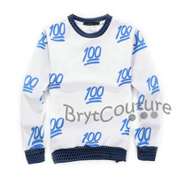 BrytCouture Limited Edition 100 Emoji Sweatshirt Blue