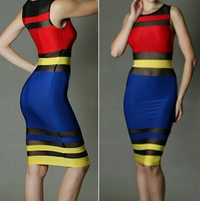 Bodycon Mesh Patchwork Dress