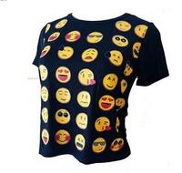 Emoji Short Sleeve Women T-Shirt Black