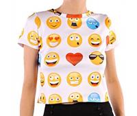 Emoji Short Sleeve Women T-Shirt White