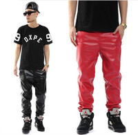 Men Hip Hop PU Leather Jogging Pants Black and red