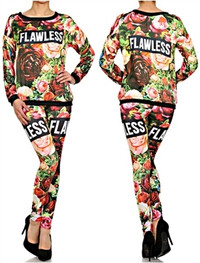 Flawless Floral Printe 2-Piece Top and Leggings Set