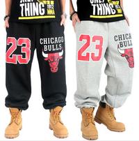 Chicago Bulls 23 Thick Fleece Sweatpants Black and Grey
