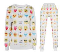 Unisex White Emoji Sweatpants Joggers and Sweatshirt Set