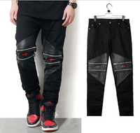 Gold Blaze Leather Patchwork Zipper Men Pants