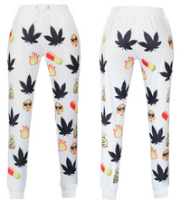 BrytCouture Weed and Pill Emoji Print Cartoon Jogger Sweatpants White