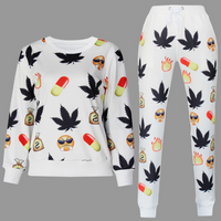 BrytCouture Weed and Pill Emoji Print Cartoon Jogger Sweatshirt Set - White