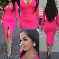 BrytCouture Sexy V-neck Long Sleeves Pink Bodycon Evening Party Dresses
