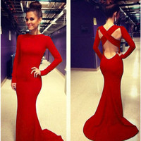 Long Sleeves Crossed Backless Red Trailing Mermaid Maxi Dress