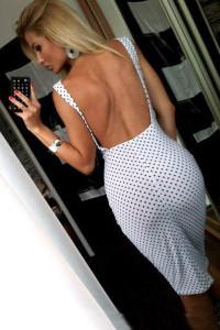 Spaghetti Strap Backless Polka Pots White Knee Length Dress back